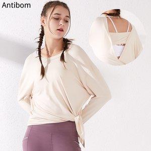 Antibom Kadın Egzersiz Yoga Gömlek Uzun Kollu Elbise Hızlı Kuru Hollow Egzersiz Nefes Spor Wear Koşu