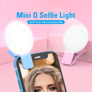 Portable Mini Beauty Selfie Ring Light 9 pcs LED Camera Photography Enhancing Flash Light with USB Cable Rechargeable for Cell Phones