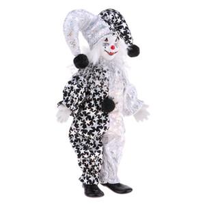 9 pouces porcelaine Sourire Clown Doll Porter Tenues blanc noir, drôle Harlequin Doll, Props Cirque, Décor Halloween