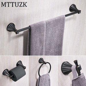 MTTUZK 4pc / Set Nickel brossé Bath Hardware Set bronze huilé porte-serviettes Robe crochet Porte-papier Accessoires de salle de bain
