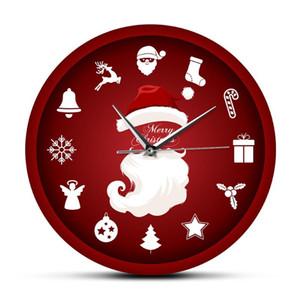 Mutlu Noel Kırmızı Wall Art Asma Saat Noel Baba Noel Hediyesi Baskılı Saatler Ev Hediye Asma