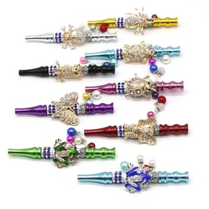 Portable Metal Pipes Glittering Hookah Holder Animal Hookah Shisha Cigarette Holders Diamond Mouth Pipe Smoking Accessories OWD1158