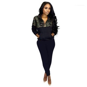 Fly Pocket Tops With Pencil Pants Sets Woman Sports Suits Womens Camouflage Patchwork 2PCS Tracksuits Women Zippper