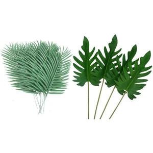 NEW-10pz artificiale Palma Faux foglie verde Piante Verde 4 pezzi Tropical Palm decorazione foglie