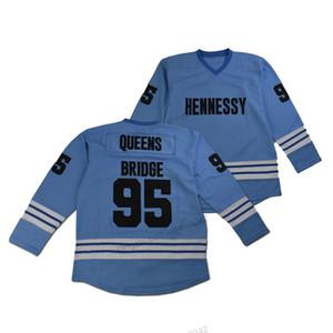 Ucuz özelleştirme Toptan Mobb Deep Prodigy # 95 Queens Köprüsü Hokeyi Jersey Erkekler Tüm Dikişli Mavi Boyut 2XS-3XL 4XL 5XL 6XL Herhangi İsim Numara