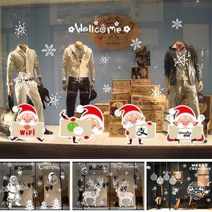 Merry Christmas engomadas de la ventana 50 * 70cm de PVC ciervos Santa Claus árbol de Navidad del copo de nieve pared de la ventana pegatinas Adornos