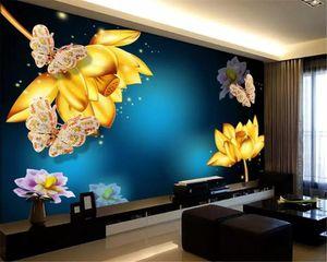 Diantu Grande sfondi personalizzati Fantasy Lotus gioielli farfalla fondale soggiorno / camera / Pitture decorative murale