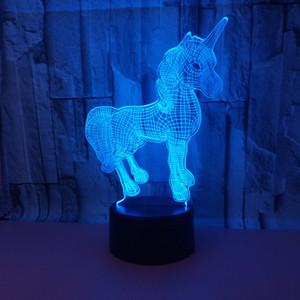 New 3D conduziu luzes toque colorido Remote Control 3D LED Night Light Touch colorido Unicorn 3D pequeno abajur