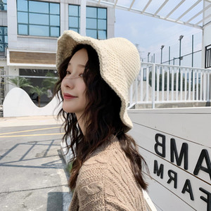 Hand-knitted fisherman hat with big eaves female autumn and winter tide simple wild wool hat warm basin