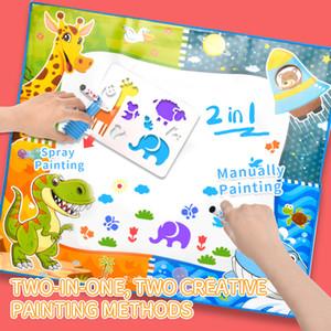 2-в-1 спрей запыхавшись одеяла для детей два-в-одном рисующих одеяло 80 * 80см можно распылять окрашены и стерт 6-цветное перо TW2007112
