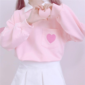 New Autumn Women top New Japanese loose pullover cute heart embroidery pocket stitching polp collar kawaii pink sweatshirt