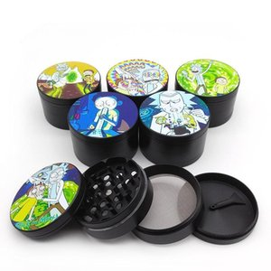 Zinc Alloy Dry Herb Grinders Cartoon Type Grinders 40 50 55 63mm 4 Layers Multi-colorful patterns Tobacco Spice Cursher Metal Grinder FY2145