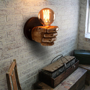 Retro Fist Wall Lamp Loft Industrial Wind Decoration Antique Wall Light E27 Screw Interface Retro Style Left-handed Right-handed Wall Lamp