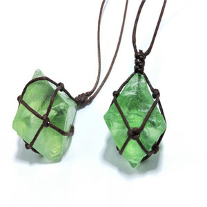 Women Natural blue-green fluorite Octahedral Faux Fluorite Stone Pendant Woven Rope Necklace Jewelry Gift Accessory