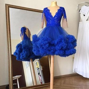 Royal Blue Homecoming Dresses with Long Sleeve 2021 Lace Ruffles Tutu Skirt V Neck Illusion Back Short Prom Dress