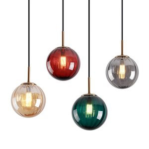 Nordic Creative Glass Dining Room Pendent Lamp Simple Bedroom Bedside Bar Pendent Lights Designer Kitchen Shop Lighting Fixtures