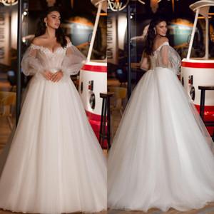 2021 Long Sleeves Wedding Dresses Princess V Neck Off the Shoulder Dotted Lace Applique Sequins Corset Back Wedding Gown vestido de novia