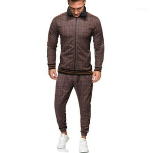 Plaid Sportswear Mens Set Print Spring Autumn Clothing Sporting Two Pieces Suit Stand Collar Sweatshirt +Pant Men Tracksuit