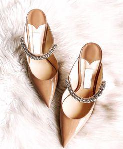 Luxury Bing 100 Кристалл-украшено Гладиатор сандалии из лакированной кожи ремешок мерцает Кристаллы Женщины Высокие каблуки леди платье партии с коробкой