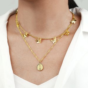 Butterfly multilayered gold necklace set Virgin Mary pendant women statement layered necklace fashion