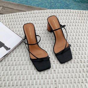 Toppies sandalias de las mujeres del verano zapatos de tacones altos zapatillas señoras elegantes zapatillas de punta abierta 200921