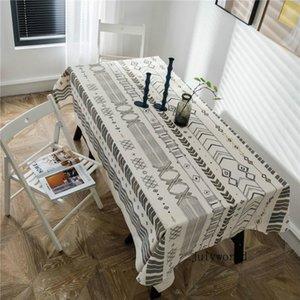 JH Retro Simples Nordic Imprimir Thicken Toalha de Mesa retangular Dustproof Tabela Stripe Cloth Estilo Multifuncional Tampa Kitchen Table Para