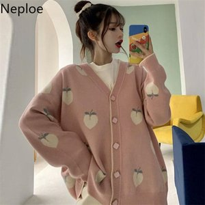 Neploe Sweater Cardigan Cute Pink Coat Women Peach Cardigans Knitted Oversized Jacket Korean Autumn Long Sleeve Pull Femme 200921