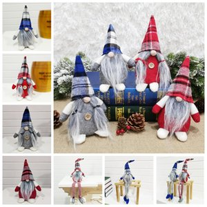 Presentes Boneca do Natal da manta Buffalo Figurines Handmade Natal Gnome Faceless Plush Faceless Toy Ornamentos Kid Xmas Decoração LJJP484