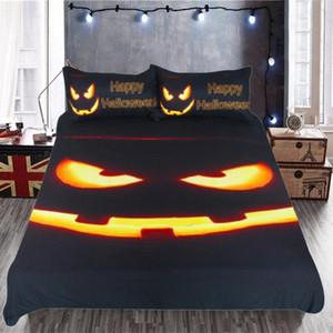 Halloween cama Set 3D Pumpkin Lantern edredon cobrir Set Preto da capa do edredon Roupa de cama de moda com fronha Home Textiles
