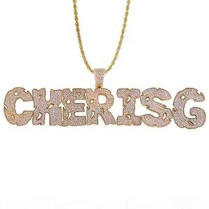 Oro argento Colori Bling la collana Via Women Rock CZ Nome personalizzato Uomini Collana pendente della lettera di con la corda catena