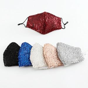 10pcs Designer Cotton Gesichtsschutzabdeckungen für Erwachsene Mode Sequin Gesicht schwarze Maske blau roten Abendkleid-Partei auf Lager Maske