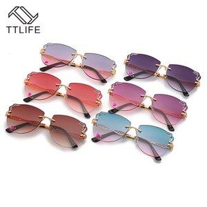 TTLIFE 2020 Женские солнцезащитные очки без оправы Дамы Металлические солнцезащитные очки Gradient Lens Коричневый Черный квадрат Gafas де золь Женщины Аксессуары