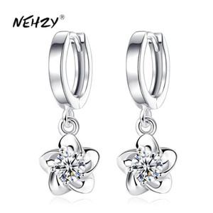 NEHZY 925 стерлингового серебра новые модные женские украшения серьги синий розовый кристалл циркона сливы цветок долго кисточкой ретро серьги