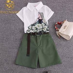 2020 summer 2 pieces suits girl print chiffon blouse shirt women tops + shorts set Women two piece set tracksuit With Belt X0924