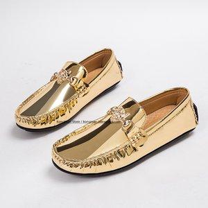 2020 sonbahar erkek deri ayakkabı moda boya deri glod erkek ayakkabı mokasen zamanki rahat kayma-on gençler