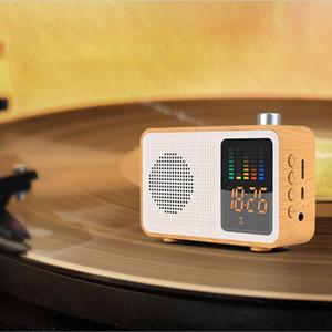 Mini Hoparlörler Miaboo Retro Ahşap Renkli Kablosuz Bluetooth Hoparlör Radyo Zaman Ekran R0409