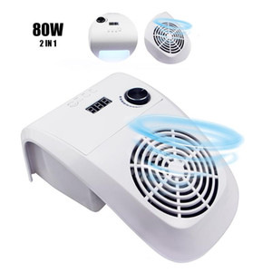 80W 2 IN 1 Nail Dust Suction Collector with Nail Lamp Vacuum Cleaner with Powerful Fan Dust Collecting Bag Art Equipment