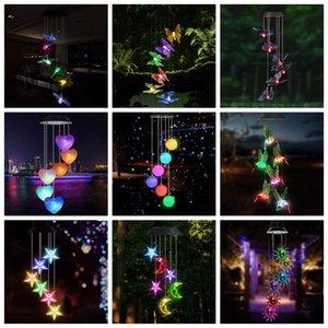 LED Güneş Rüzgar Chime Kristal Küre Hummingbird Rüzgar Chime Işık Renk Su geçirmez Asma Güneş Işığı Home For Bahçe Değiştirme