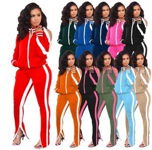Plus size 2X Mulheres winte queda de designer fatos de treino de manga longa jaqueta casaco + calças pilha duas peças set roupas simples sweatsuits casuais 3776