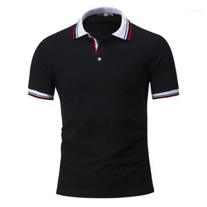 Mens Summer Tops Mens Designer Contrasto Colore Polos Fashion Striped Stampa Collo a soffitto Manica corta Polo Camicie Casual