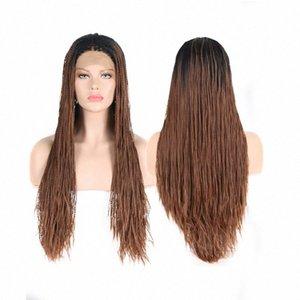 Radici AIMEYA Medio Parte Ombre Brown 2X Twist Micro Trecce parrucca anteriore del merletto per le donne con lungo scuro intrecciato capelli sintetici parrucche Vanessa LIO6 #