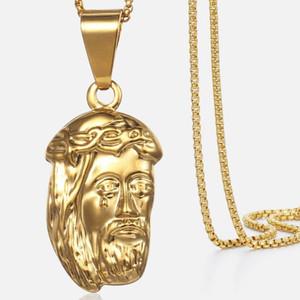 Trendsmax Women's Necklace Jesus Pendant Yellow Gold Filled Box Chain Necklace For Men Women 45cm 50cm Hollow KGP196