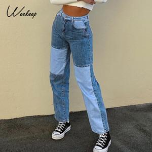 Weekeep Patchwork Moda Kargo Kot Kadınlar Yüksek Bel Düğmeler Düz Pantolon 90s Retro Punk Düz Kot Pantolon Streetwear