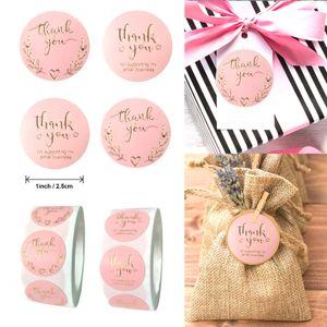Saco-de-rosa 500pcs Adesivos Etiqueta Album de papel Etiquetas Etiquetas Diy Stationery você presente Obrigado Decoração Foil Scrapbooking ENOMR yh_pack