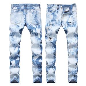 Rasgado Casual Jeans Hombres High Street New Craft Slim Fit Denim Pantalones Punto de blanqueo Tramo recto de los pantalones vaqueros azul claro