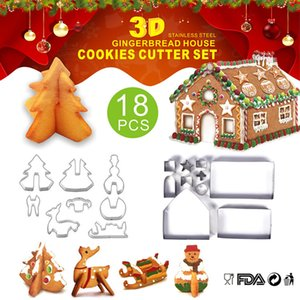 Christmas Cookie Cutter Set 18 Pcs Stainless Steel Gingerbread House Biscuit Mold Including Christmas Tree Elk Sleigh Cross Pentagram Etc