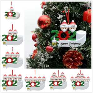 DIY Quarantine Personalized Ornaments Survivor Family of 1 2 3 4 5 6 7 Face Masks Hand Sanitized Customize Xmas Decoration Creative Toys