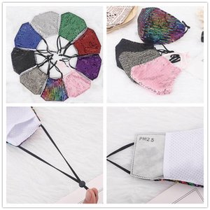 2020 New Fashion Bling 3D Sequins Mask Washable Reusable Face Care Shield Sun Rainbow Designer Shiny Face Cover Mount Masks