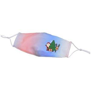 9 Styles Creative Christmas Gradient Face Masks Santa Claus Snowman Reindeer Print Mask Adjustable Ear Loop Protective Mouth Mask