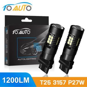 TOAUTO 2 개 T25 3157 P27 / 7W LED 전구 슈퍼 밝은 자동차 브레이크 정지 돌려 신호 조명 화이트 레드 황색 자동 램프 12V